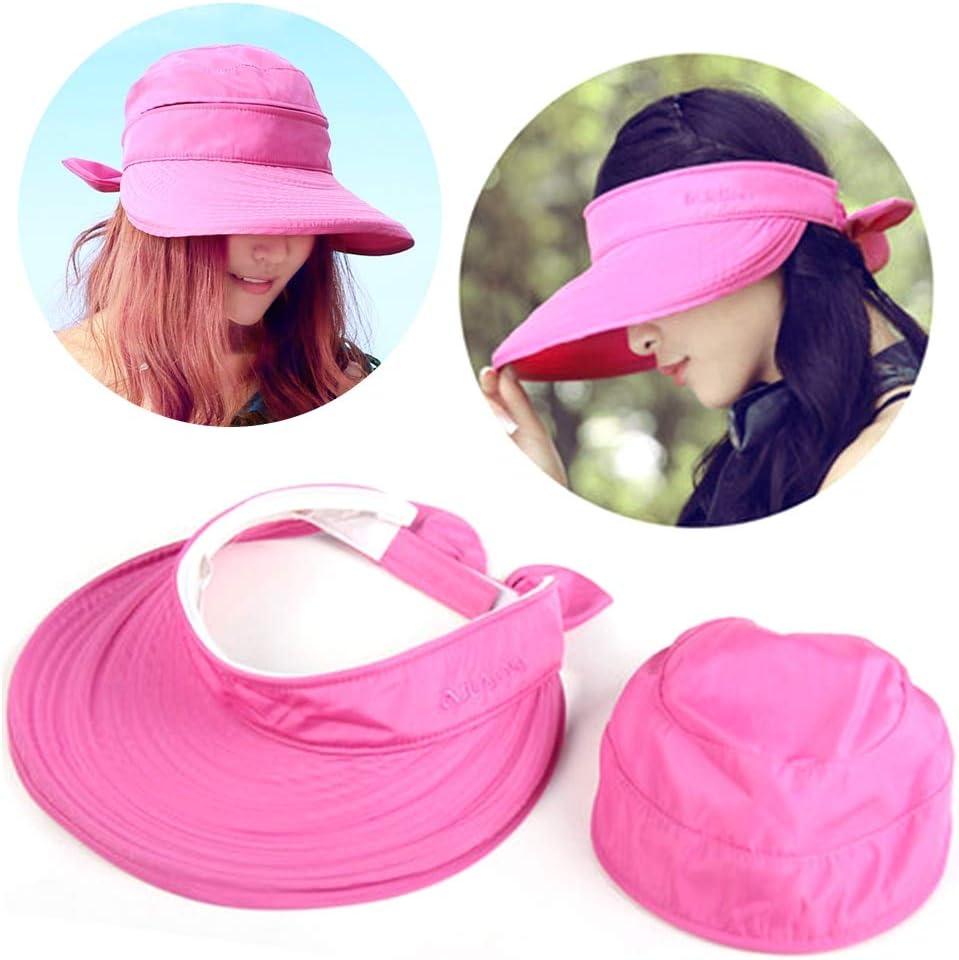 Pandao Sombrero para el Sol Senderismo Playa Color sólido señoras protección Solar Sombrero Moda Verano Sombrero para el Sol práctica Pajarita versión Coreana Viaje al Aire Libre Sombrero Plegable