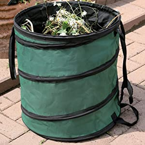 Jkhome Garden Pop Up Bag, Canvas Reusable Yard Waste Bag, Garden Lawn Trash Leaf Bag, Collapsible Canvas Bucket Container (Dark Green, 20 Gal)