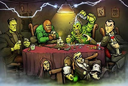 Get Down Art Monsters - Póster (91,4 x 60,9 cm), diseño de Frankenstein Werewolf Dracula: Amazon.es: Hogar