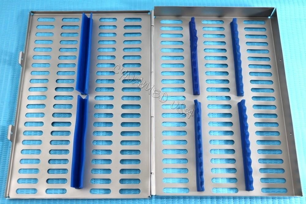 5 Heavy Duty German Dental Autoclave Sterilization Cassette Rack Box Tray for 20 Instrument Blue CYNAMED by CYNAMED (Image #3)