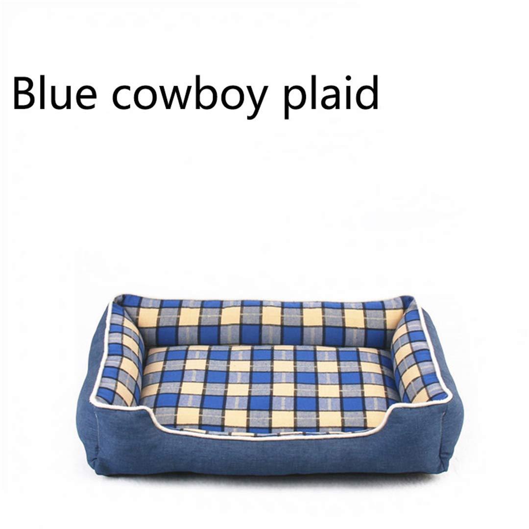 bluee Diameter 50cm bluee Diameter 50cm Dog Bed Mat Warm Thicken Plaid Pet Mat Cotton Padded Travel Removable Cushion