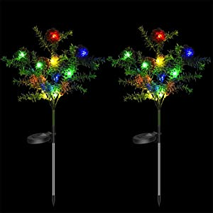 Solar Decorative Garden Stakes Lights, Christmas Party Outdoor Decor Trees with Multi Color Balls LED Flash Lights Waterproof for Home Lawn Yard Patio Pathway Landscape, 2 Pack (Tree&Balls)