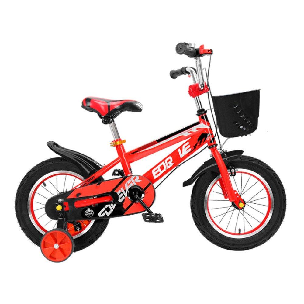 QXmEi子供の自転車高炭素スチールフレーム2 – 3 - 4 , – , 7 , – 8 Years Old Boy and Girl 12 /14 /16 /18インチ自転車補助ホイール付き B07DV4S5LH 12Inches|レッド レッド 12Inches