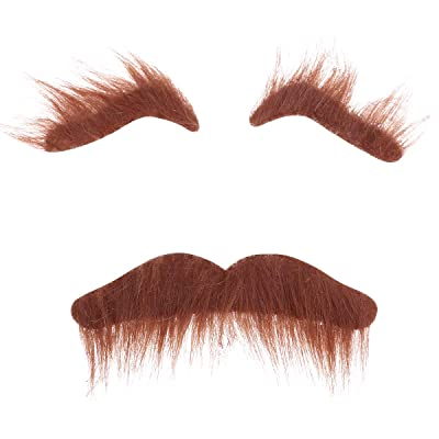 TINKSKY Novelty Costumes Self Adhesive Fake Eyebrows Beard Moustache Kit Facial Hair Cosplay Props Disguise Decoration for Masquerade Costume Party (Brown): Toys & Games