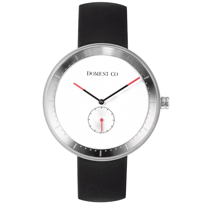 domeni CO SSL01 Unisex Signature Series Gitarrengurt Edelstahl schwarz Leder Band Weiß Zifferblatt Uhr