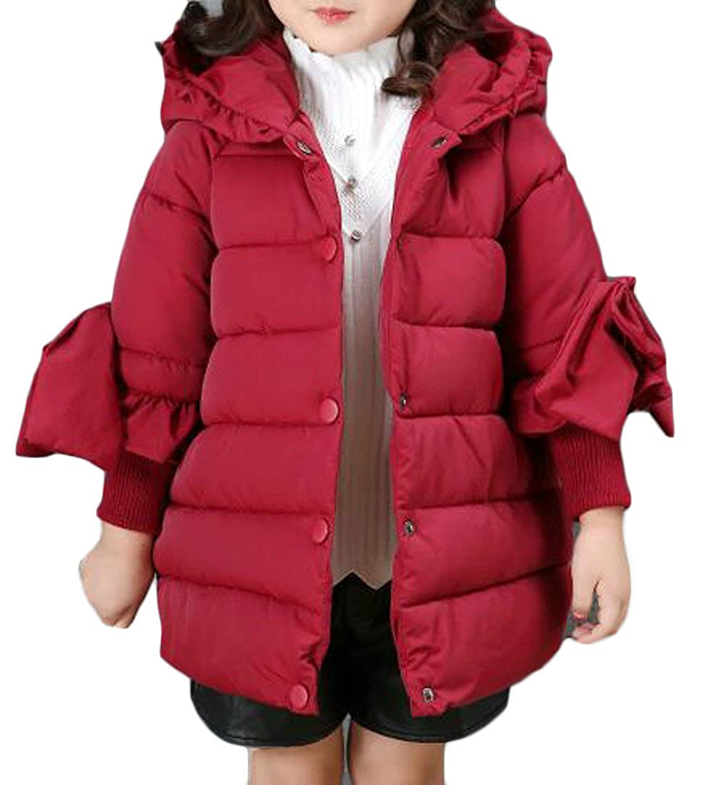 Sweatwater Girls Puffer Thick Hooded Bowknot Outwear Jackets Coat With Kids