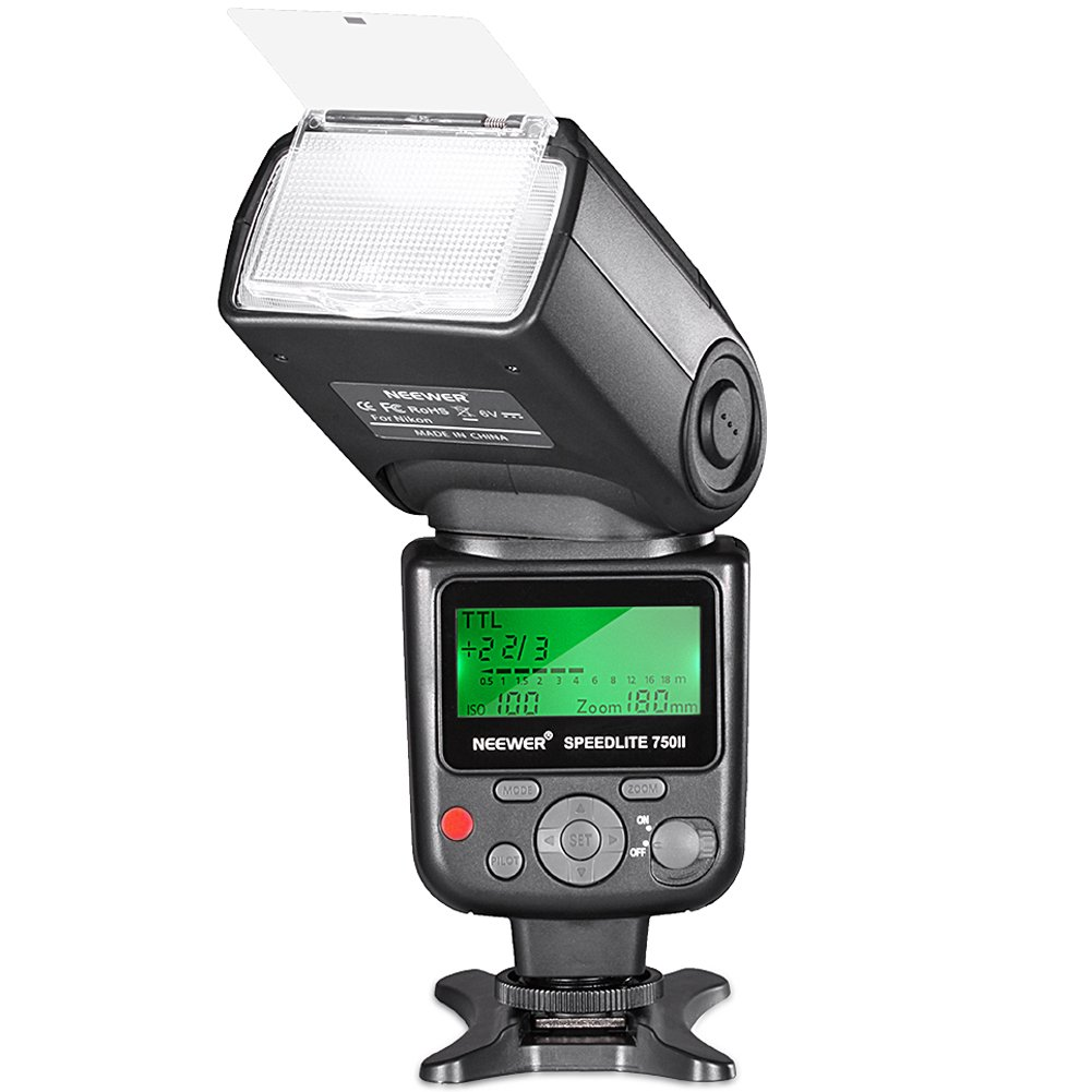 Neewer 750II TTL Flash Speedlite with LCD Display for Nikon D7200 D7100 D7000 D5500 D5300 D5200 D5100 D5000 D3300 D3200 D3100 D3000 D700 D600 D500 D90 D80 D70 D60 D50 and Other Nikon DSLR Cameras by Neewer