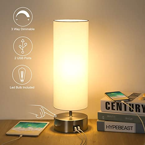 3 Way Touch Control Dimmable Bedside Table Lamp with 3 USB Charging Ports Minimalist Modern Night Light for Nightstand Bedroom Living Room Office 5W LED Bulb Included 2 AC Outlets