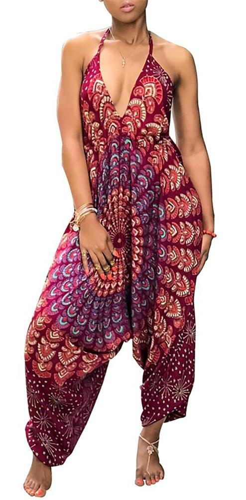 Voghtic Womens Deep V Neck Backless Spaghetti Strap African Floral Harem Jumpsuit Romper
