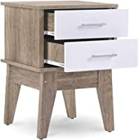 Nobu Bedside Table Nightstand with 2 Drawers Scandinavian Style Furniture Oak Colour