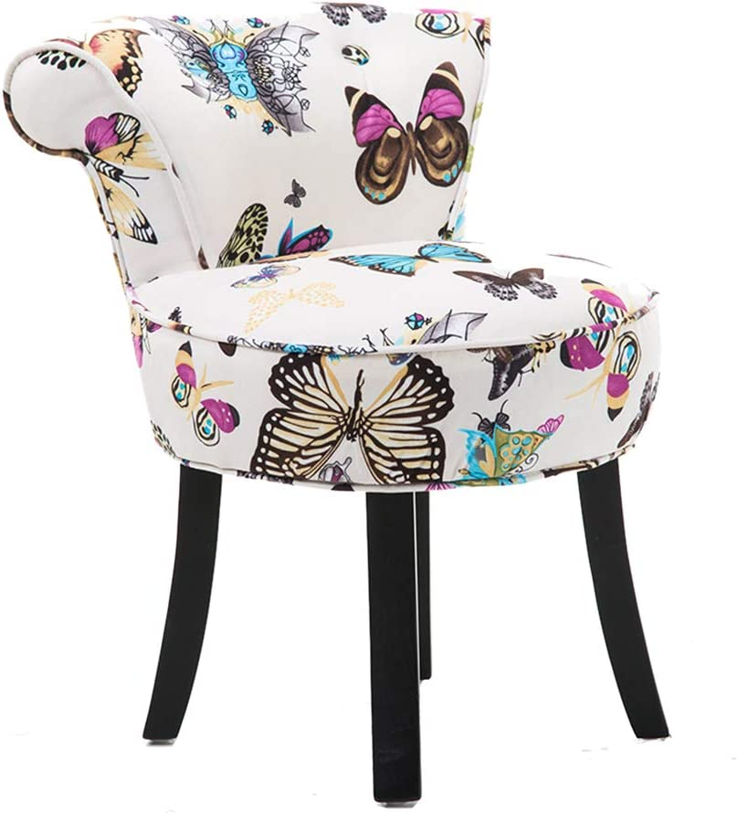 Comfortable Chair Modern Lounge Stool,Vanity Stool/Makeup Stool/Fan Back Dressing Chair,Baroque Piano Chair with Solid Wood Legs and Upholstered, for Dressing Room/Living Room/Bedroom/Restaurant Lei