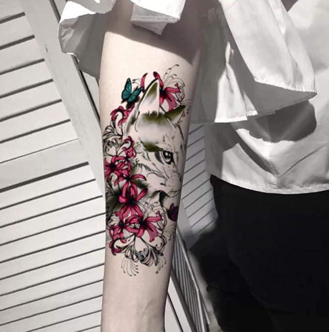Transferencia Temporal Falso Tatuaje Pegatinas Flor Brazo Gato ...