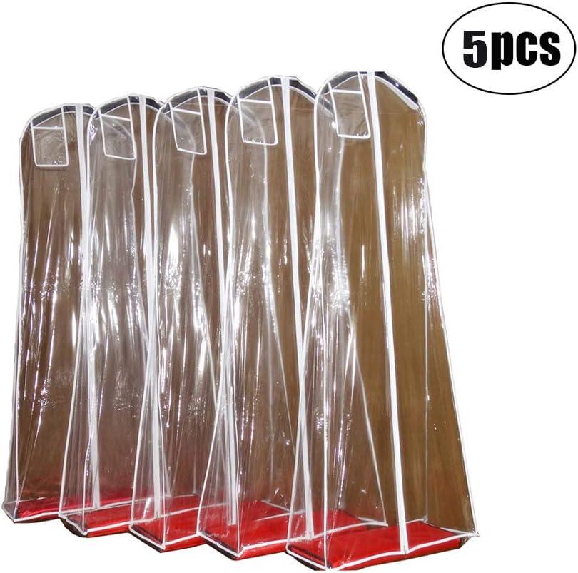 Monba 160x70x30cm Funda Transparente con Cierre de Cremallera y Bolsillo Bolsas de Almacenamiento de Ropa de PVC para Proteger Vestidos de Novia 5 Unidades