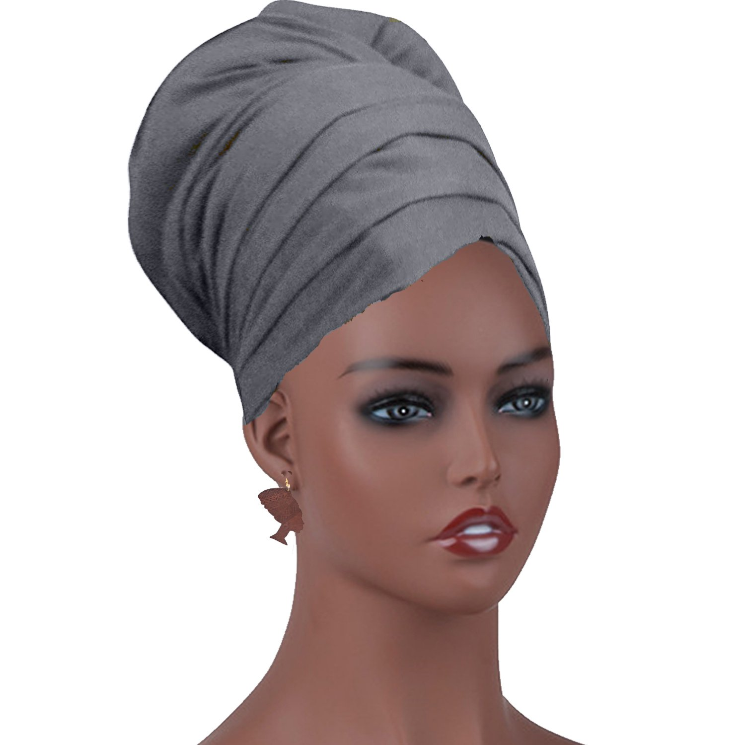 Long Stretch Head Wrap Set- Solid Color African Turban Hair Scarf Tie, Double Sided Edge Control Hair Brush Comb Combo,Wooden Colored Turban African Woman Earrings,Wig Cap (OneSize, Grey) by qnprt (Image #2)