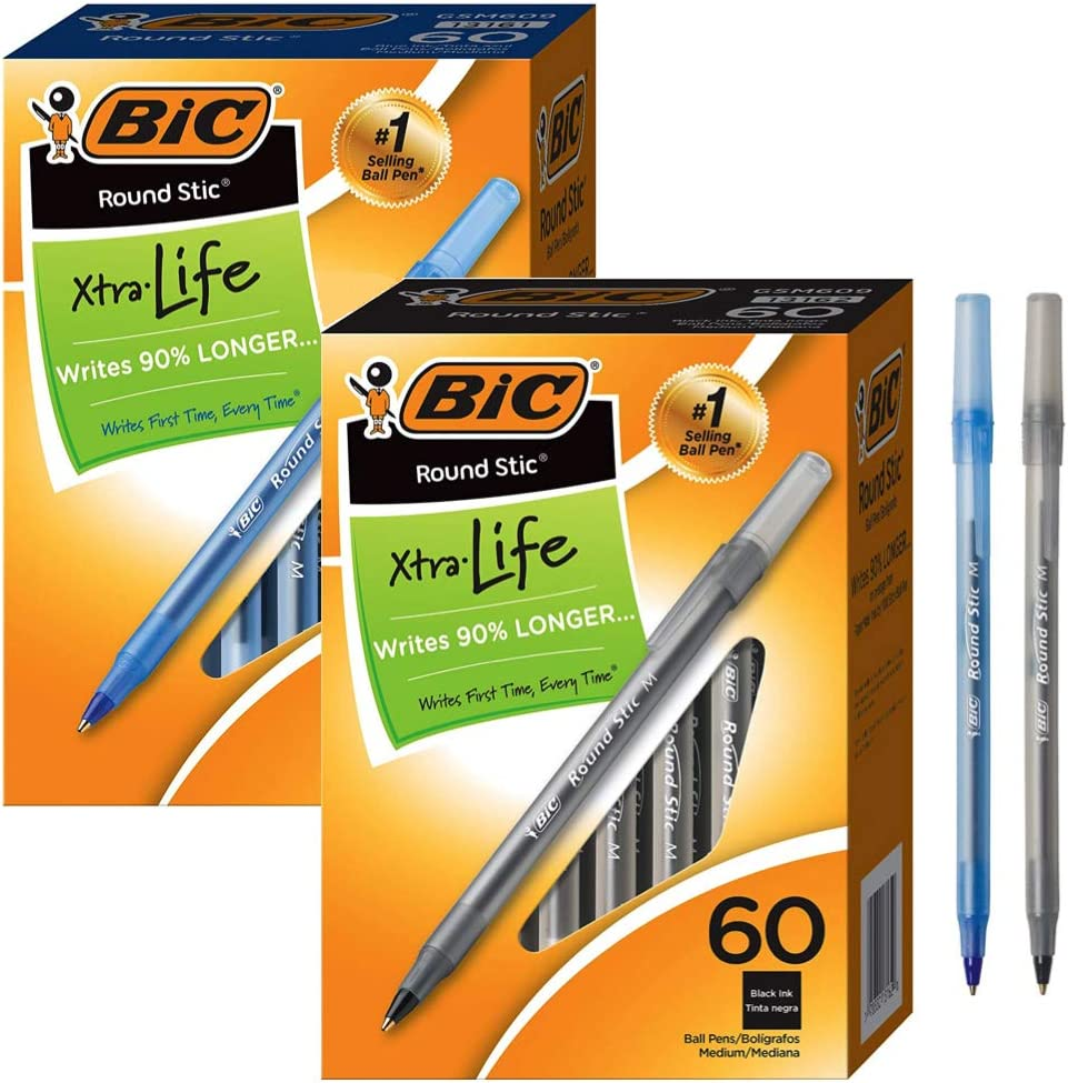 1.0mm - 2 Pack Medium Point 60-Count GSM609-BLUE BIC Round Stic Xtra Life Ballpoint Pen Blue