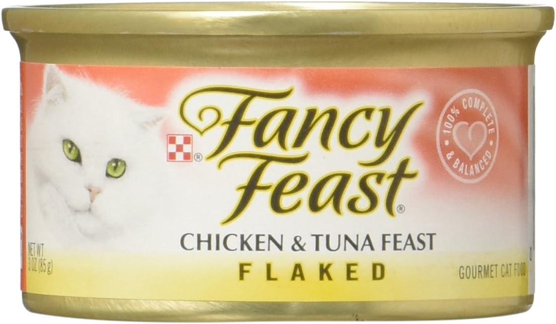 Fancy Feast Flaked Chicken Tuna Feast Gourmet Cat Food, Case of 24