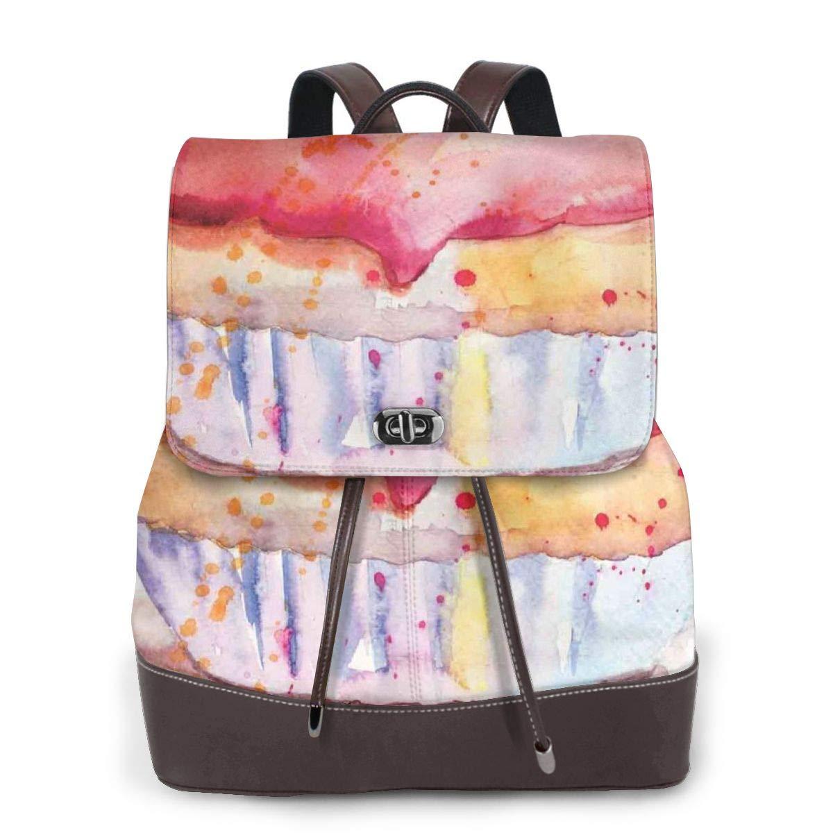 Women's leather backpack,Ink Splatter Watercolor Illustration Of Cherry Sweet Buttercream Frosting Cupcake,School Travel Girls Ladies Rucksack by GULTMEE