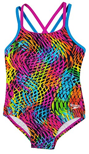 Speedo Girls Youth Solid Splice Cross-Back One-Piece Swimsuit (5, Neon Current)