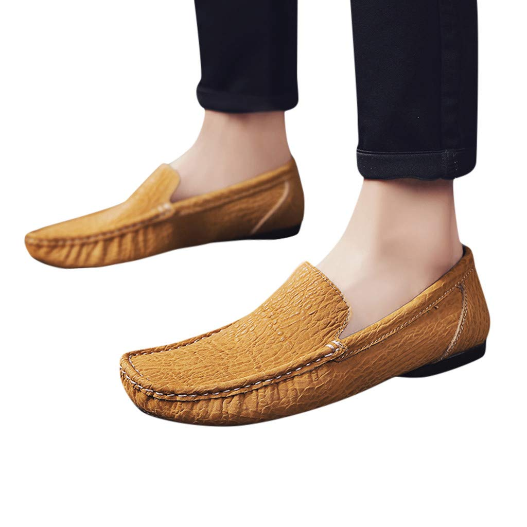 Men's Genuine Leather Slip on Penny Driving Loafers Fashion Breathable Moccasin Flats Boat Shoes Trainer Shoes (US:8.5, Gold) by Dasuy