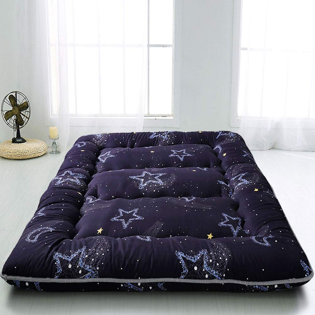 Black Moon and Star Futon Mattress, Japanese Floor Mattress Folding Tatami Floor Mat Portable Camping Mattress Kids Sleeping Pad Floor Lounger Couch Bed, Thickness:8CM, Queen Size by MAXYOYO
