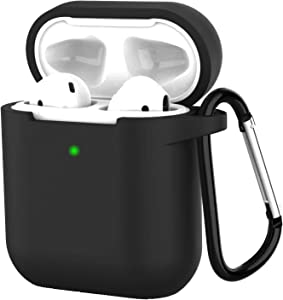 Compatible with Airpods 2 Wireless Charging Silicone Case, AirPods Case Protective Cover [Front LED Visible] Accessories Shockproof Skin Cover with Anti-Lost Carabiner Keychain-Black