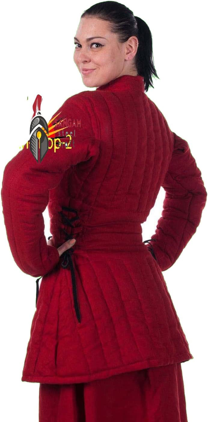 SANGAMSTEELCRAFT Thick Padded Medieval Gambeson Jacket Costumes Dress SCA