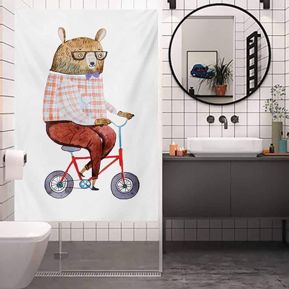 Película decorativa para ventana, divertido oso de dibujos animados vestido con ropa hipster para montar a caballo, película de tinte para ventana de casa, control de calor, 23.6 x 47.2 pulgadas