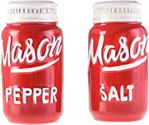Red Mason Jar Salt and Pepper Shakers - Kitchen Ceramic Shaker Bottle - Retro Farmhouse Decor - Kitchen Accessories Home Decor - Rustic Home Accessory and Gifts - Set of 2 by Goodscious