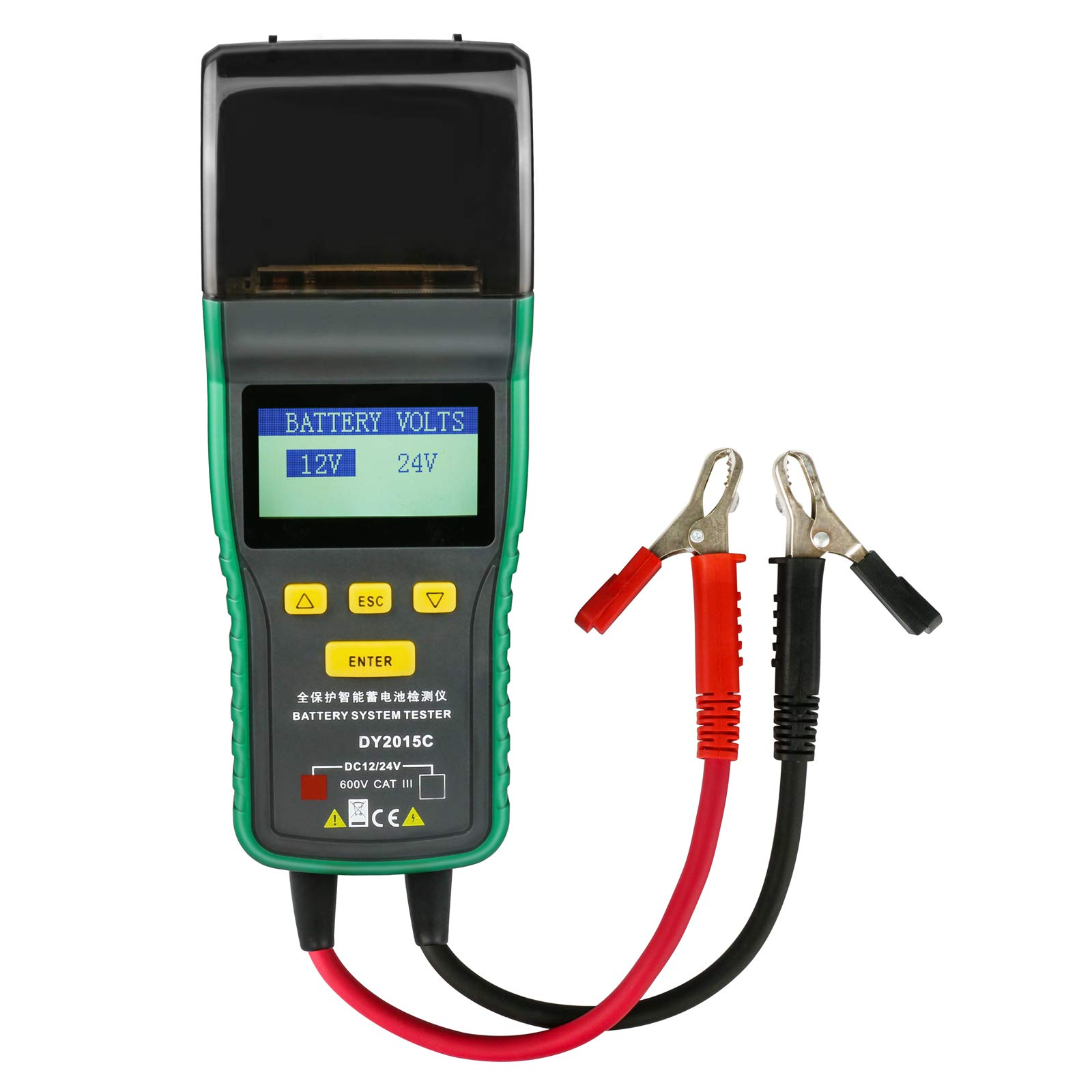 DuoYi 12V/24V Automotive Battery Tester, Lead-Acid Battery Analyzer CCA 100-1700 SOH 0-100% Integrated Printer Diagnostic Tool with Suitcase (DY2015C) by DuoYi (Image #2)