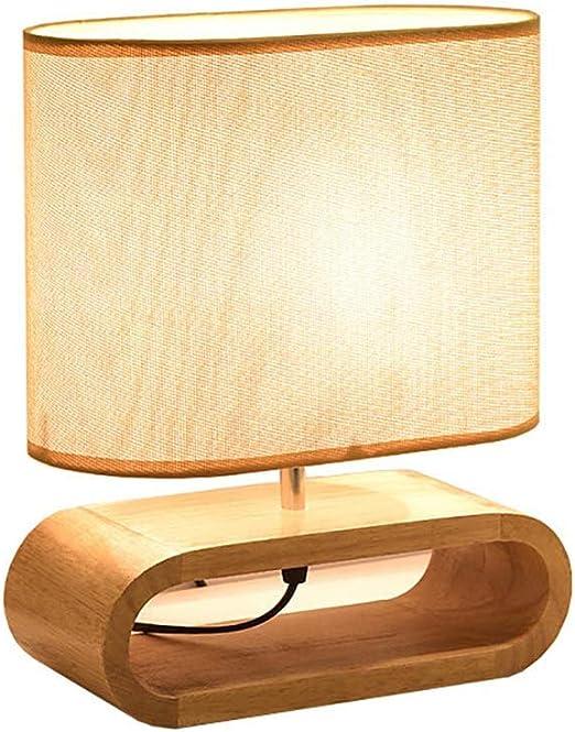 WYHYQY Lámpara de Mesa Ovalada sobre Base de Madera, lámpara de ...