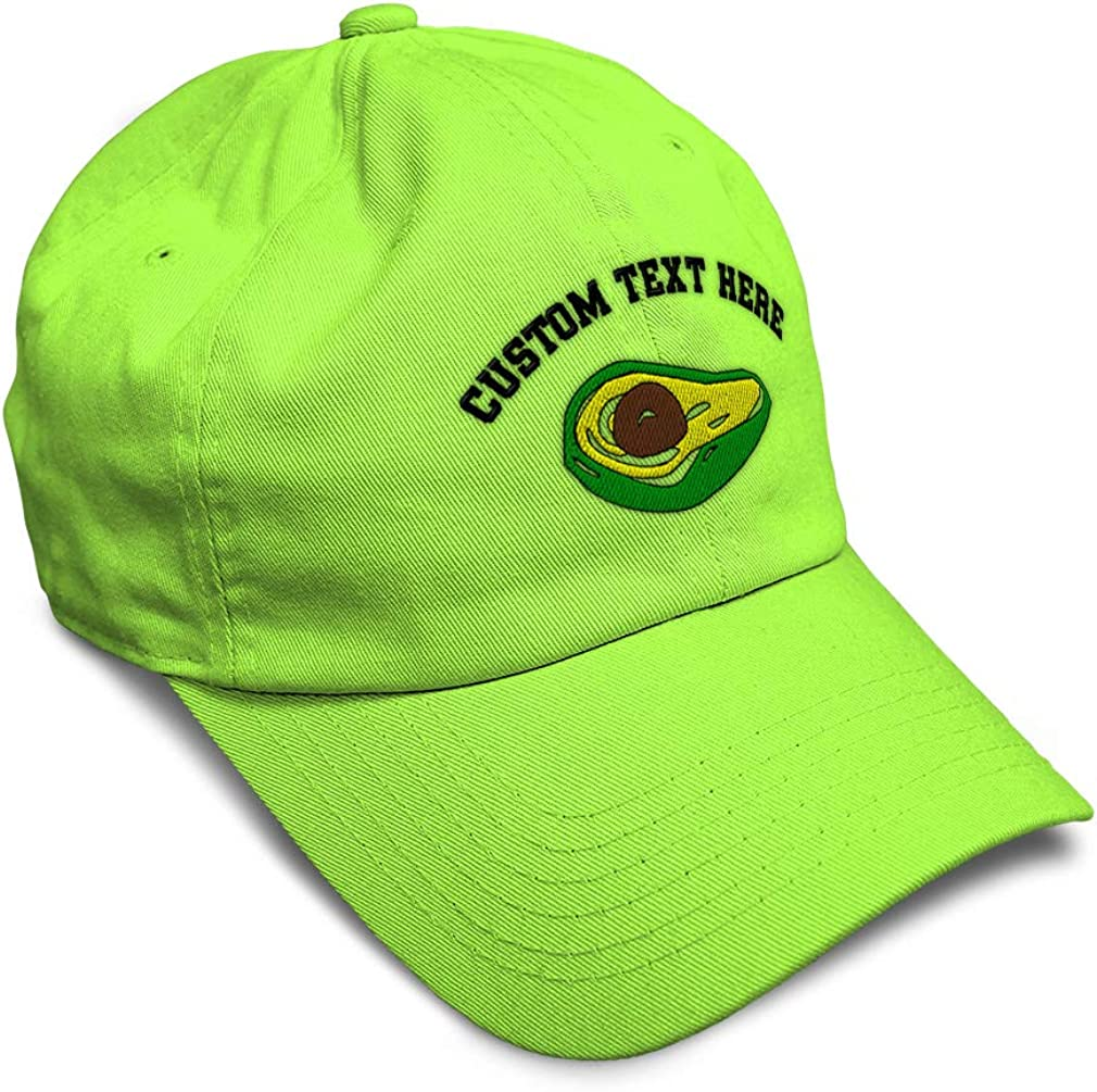 Custom Soft Baseball Cap Avocado Fruit Style B Embroidery Twill Cotton