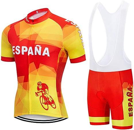 Maillots De Ciclismo Set Para Hombre,Verano España Ciclismo Jersey Mtb Bicicleta Set Ropa Desgaste Superior Mens Quick-Dry Bike Camiseta 3D Acolchado De Gel Maillots Para Deporte Al Aire Libre En Bic: Amazon.es: