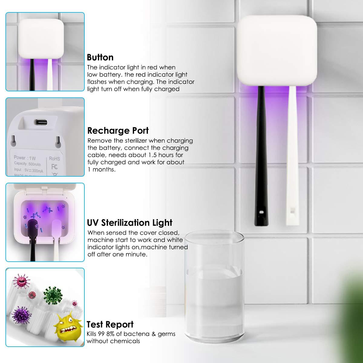 Non brand Sterilizzatore per Spazzolino UV Supporto per La Disinfezione dello Spazzolino da Parete Box Scatola per La Pulizia dello Spazzolino da Denti a Raggi Ultravioletti