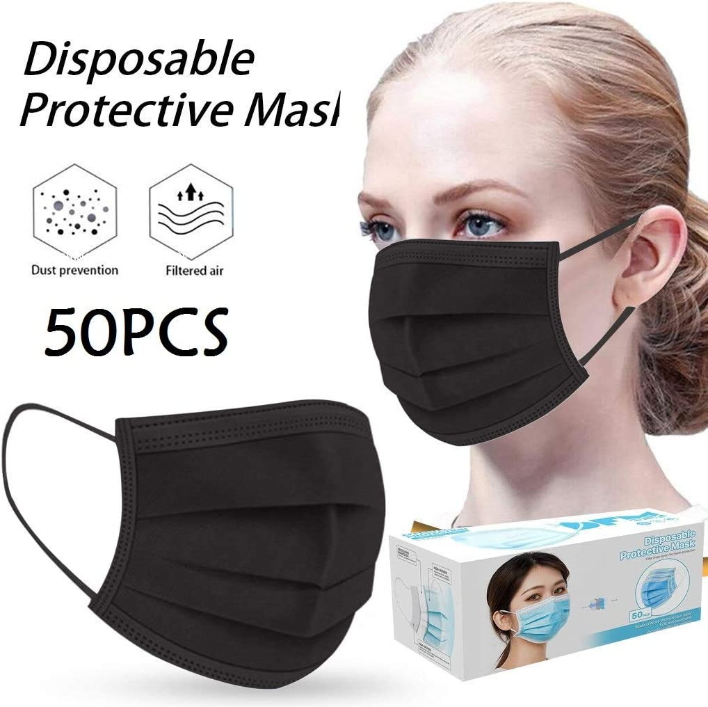 WWEIL 50//100 PCS Disposable Face Bandanas for Home Office Outdoor 3-Ply Breathable Comfortable Filter for Adults