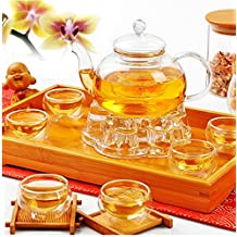 Chinese Gongfu Glass Tea Pot Set With Infuser Filter Tealight Warmer 6 Cups by STCorps7