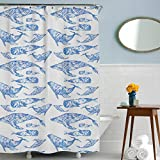 Whale Fish Shower Curtain with White and Blue Floral Pattern Ocean Theme Bathroom with Waterproof Fabric Hooks Included