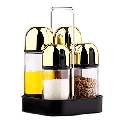 Jarra de especias Soporte de acero inoxidable con 4 botellas de vidrio vacías de aceite de