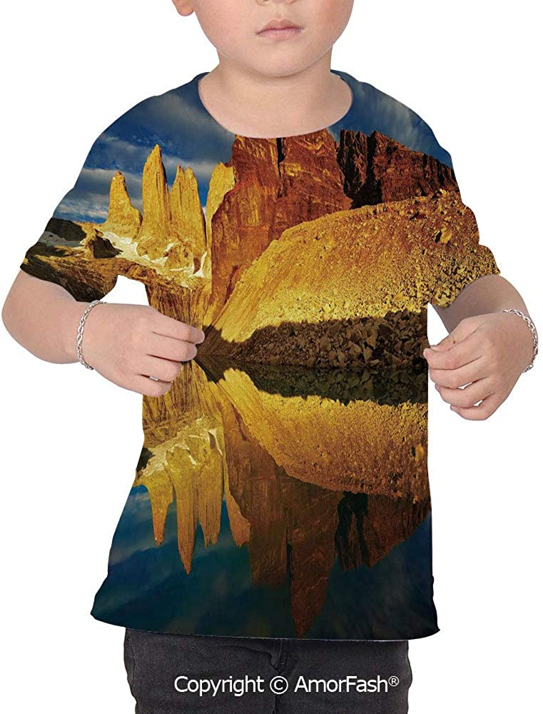 Sunrise Girls Short-Sleeve Midweight T-Shirt,Polyester,Exquisite Cliffs by Lake