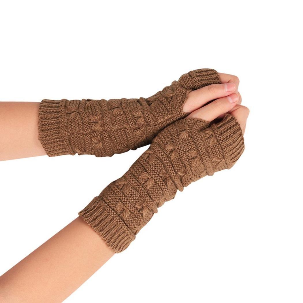 Charberry Fashion Arm Fingerless Winter Unisex Soft Warm Mitten Gloves (Khaki)