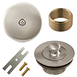 Lift and Turn Twist Bathtub Tub Drain Conversion Kit Assembly, All Brass Construction - Brushed Nickel