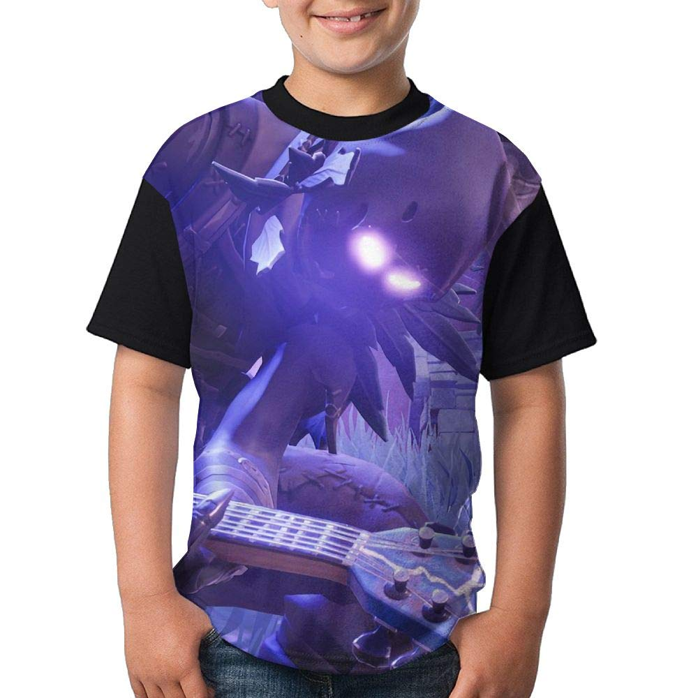 Raven Playing Guitar Child's Boy's Girl Short Sleeve Round Neck Funny Tees Tshirt M
