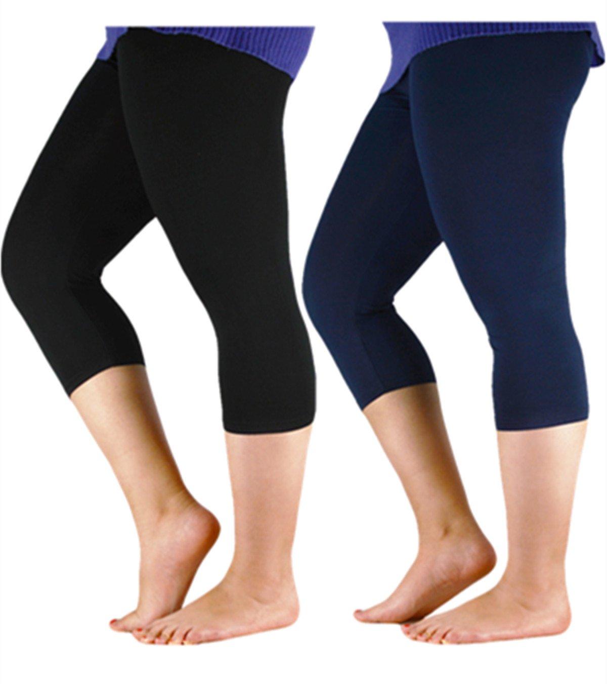 Premium Soft Light Comfy Fit Bamboo Capri Pants Under Dress Leggings for Women Regular and Plus Size 2 Pairs Black Navy 5XL (US XL Plus-US 2XL Plus)