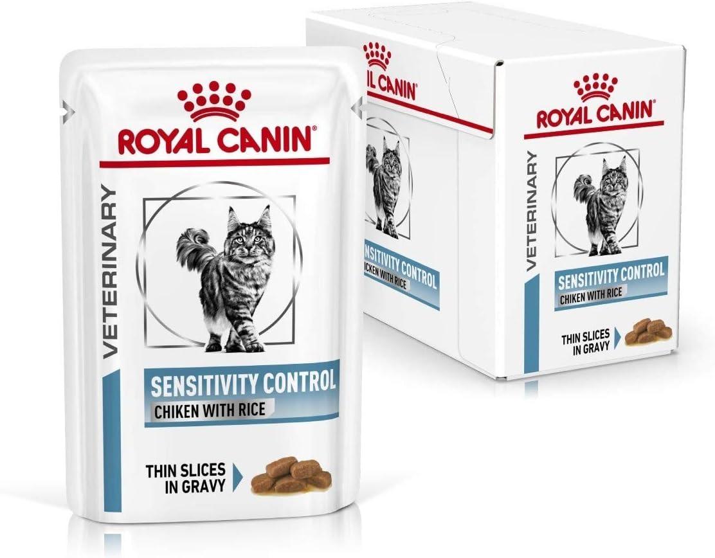 ROYAL CANIN Veterinary Diet Control Umido Gatto-12 x 85 FELINE SENSITIVITY CHICKEN 12X85 GR, Plástico
