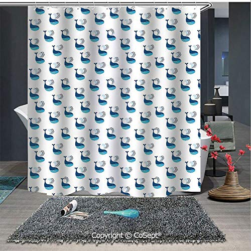 SCOXIXI Home Decor Shower Curtain,Cute Whale Fish Swimming in The Ocean Sea Fins Marine Underwater Kids Design,for Master,Kid's,Guest Bathroom,Standard(59.05