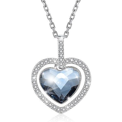 3ff2d03c4d38 KOLOVEADA Halsketten Silber Damen Echt 925 Silber Kette Herz Anhänger  Kristall von Swarovski, Blau Halskette