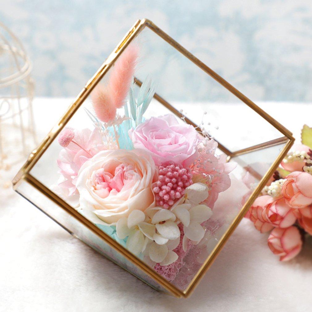 プリザーブドフラワー バラ 枯れないお花 プリザーブドフラワー グラスハウス フラワーギフト ブリザード フラワー アレンジメント フラワー クリスマス/誕生日プレゼント/お祝い/結婚祝い/記念日 花 贈り物 ギフト 5色 (ピンク) B077XZVPZQ ピンク ピンク