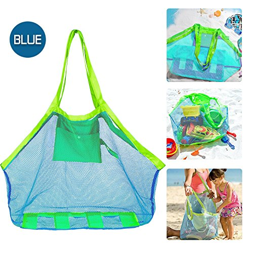 IBEET Beach Mesh Tote Bag, Beach Necessaries Children Toys Stay Away from Sand for the Beach Pool Boat, Perfect for Holding Toys Balls, Blue
