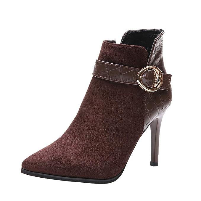 Botines Mujer Invierno Otoño Cremallera Lateral para Mujer Botas de tacón Alto Hebilla de cinturón Botines Zapatos de tacón de Aguja Botas Cortas Botas De ...