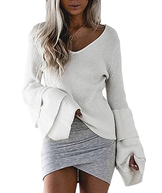 Mujeres Suéter Sexy Cuello V Manga de Cuerno Tejer Camisas Pullover Blouses Moda Colores Lisos Suelto Blusa Tops Jerséis: Amazon.es: Ropa y accesorios