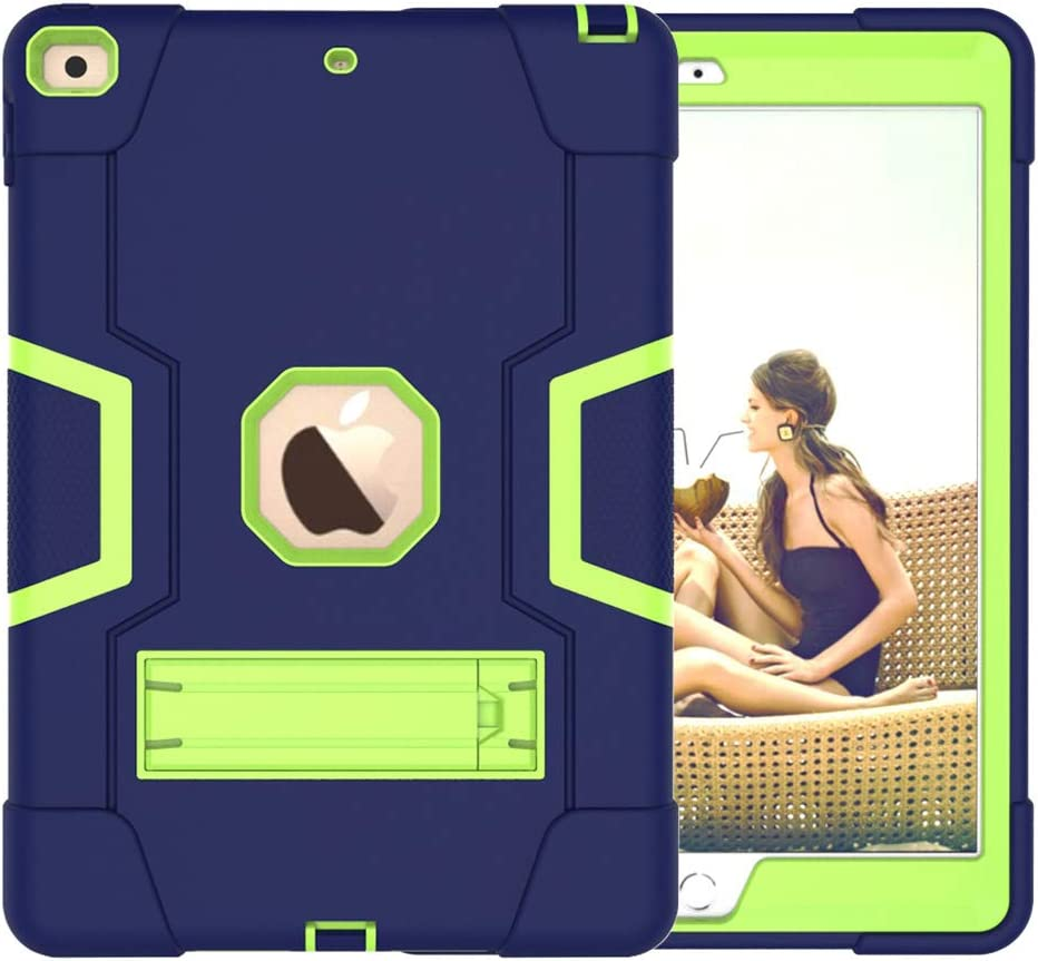 A-BEAUTY Case for iPad 8/7 (10.2-Inch, 2020/2019 Model, 8th / 7th Generation), with [Screen Protector] [Pen] [Shockproof] [Kickstand], Navy Blue Yellow Green